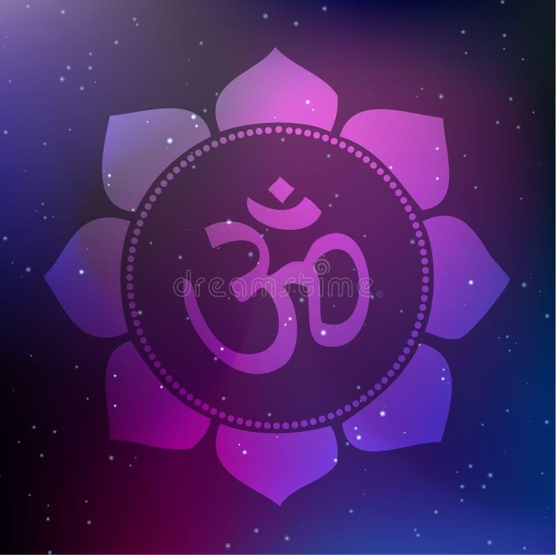Vektor Lotus Mandala med Om-symbol på en kosmisk bakgrund royaltyfri illustrationer