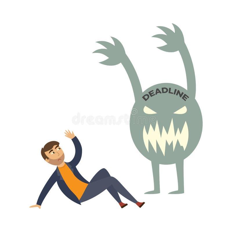Vektor müdes Geschäftsmannüberlastungs-Fristenmonster lizenzfreie abbildung