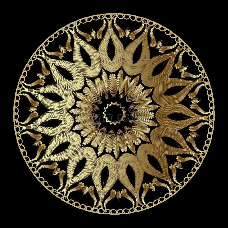 Vektor-Mandalamit blumenmuster der Tapisserie abstraktes Dekoratives Gold stock abbildung