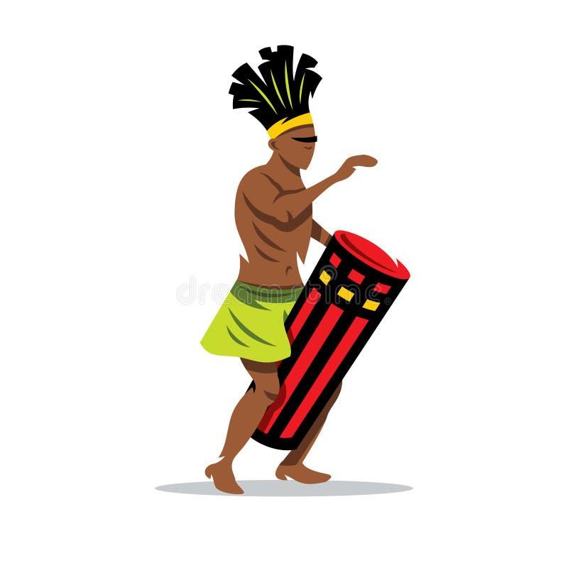 Vektor-Mann, der die Trommel spielt Afrikanische Musik Karikatur-Illustration vektor abbildung