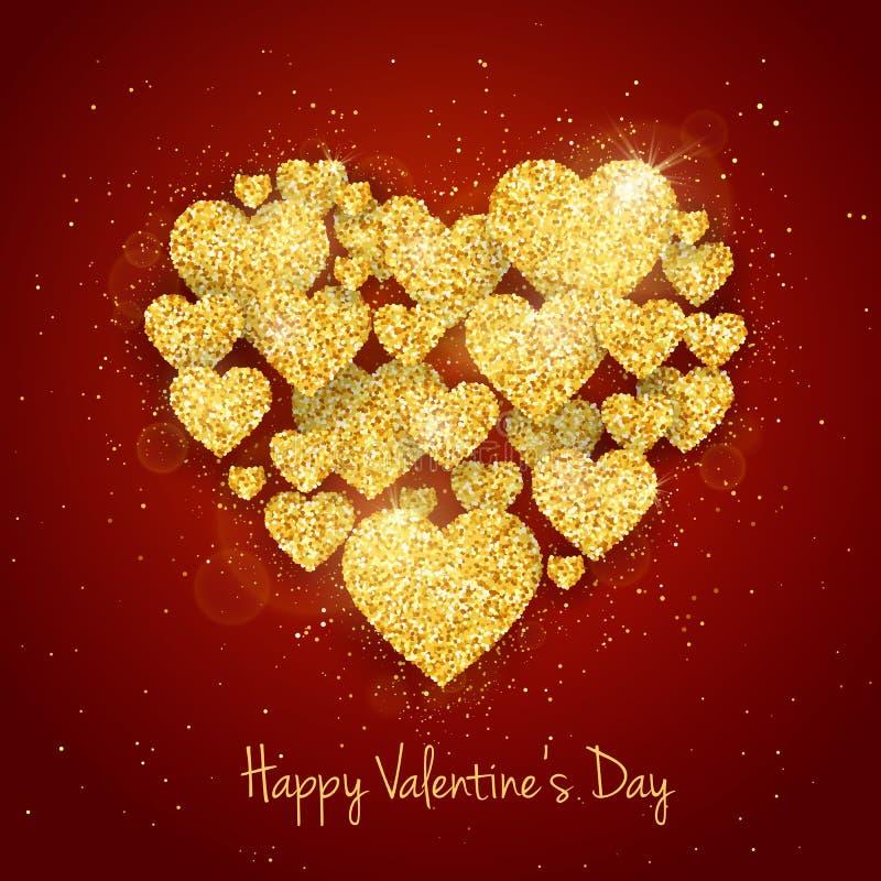 Vektor-maserte glückliche Valentinsgruß ` s Tagesgrußkarte mit funkelndem Funkelngold Herzen auf rotem Hintergrund lizenzfreie abbildung