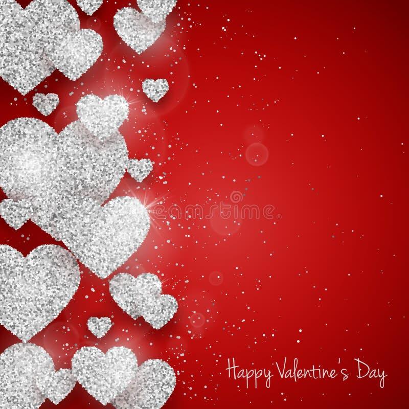 Vektor-maserte glückliche Valentinsgruß ` s Tagesgrußkarte mit funkelndem Funkelnsilber Herzen auf rotem Hintergrund lizenzfreie abbildung
