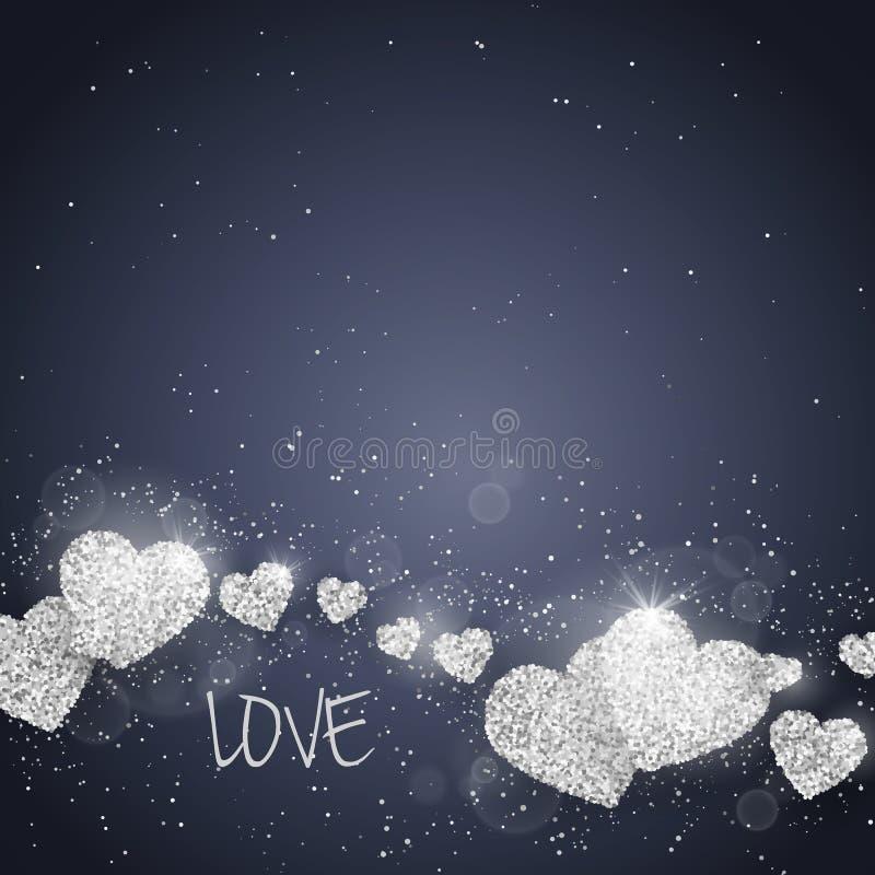 Vektor-maserte glückliche Valentinsgruß ` s Tagesgrußkarte mit funkelndem Funkelnsilber Herzen Saisonfeiertagshintergrund stock abbildung
