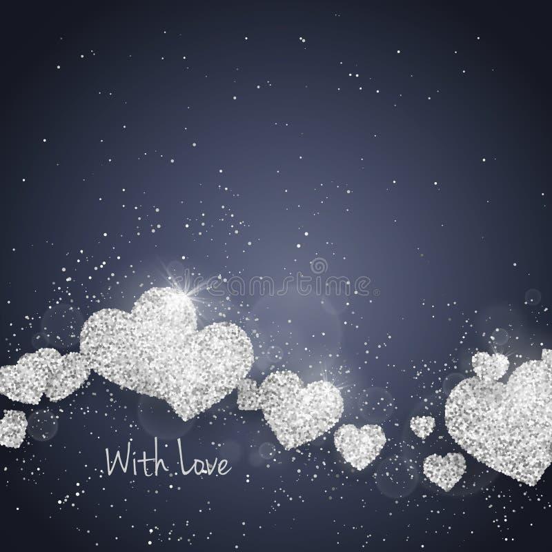 Vektor-maserte glückliche Valentinsgruß ` s Tagesgrußkarte mit funkelndem Funkelnsilber Herzen Saisonfeiertagshintergrund vektor abbildung