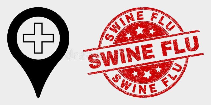 Vektor-medizinische Karten-Markierungs-Ikone und Bedrängnis-Schweinegrippe-Stempelsiegel stock abbildung