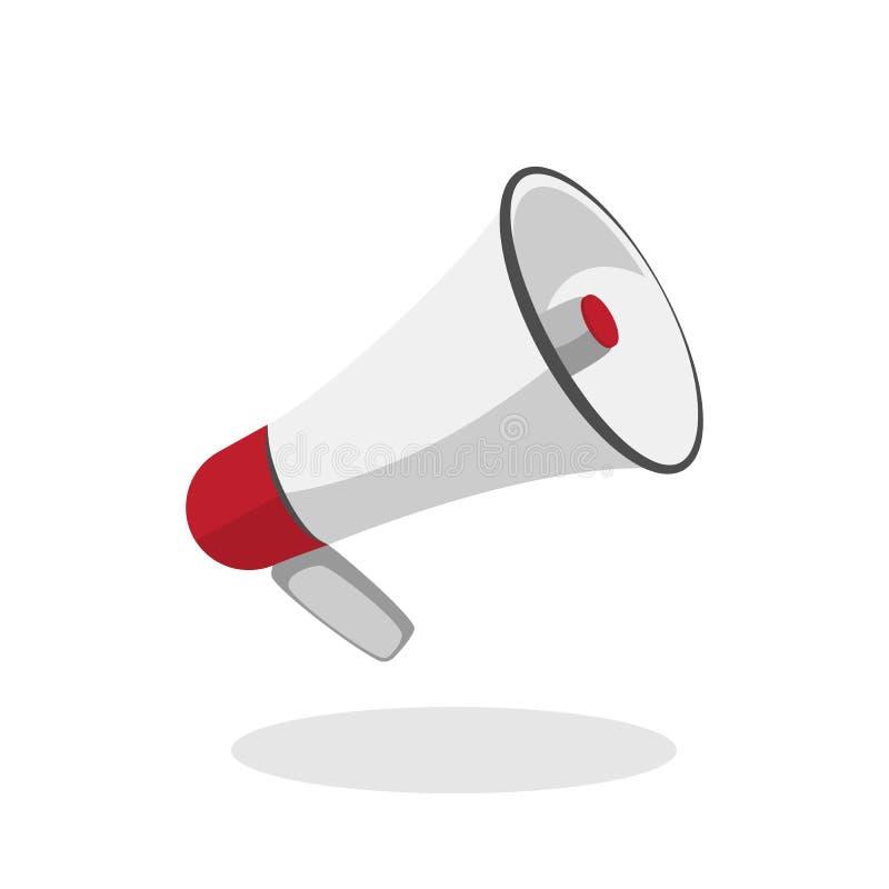 Vektor-Megaphonikone in der flachen Art Lautsprecherzeichen für Fahne, Website, Mobile und Printmedien Lokalisiert auf Wei? lizenzfreie abbildung