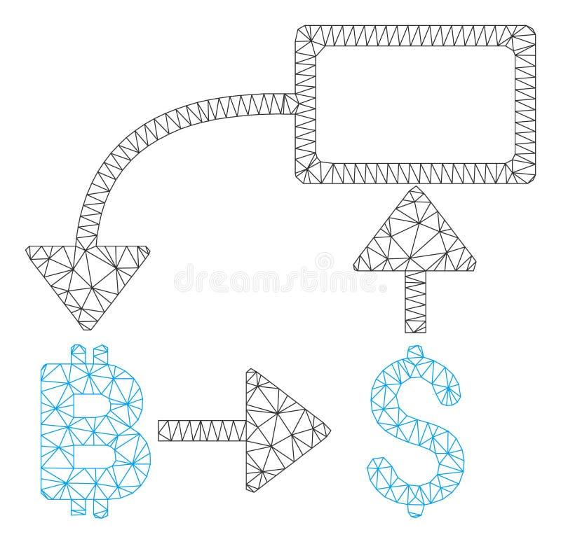 Vektor Mesh Carcass Model för diagram för Bitcoin dollarflöde royaltyfri illustrationer