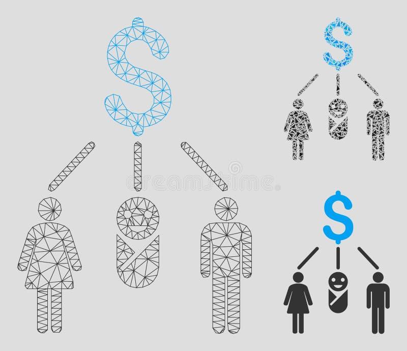Vektor Mesh Carcass Model för familjbudget och mosaisk symbol för triangel royaltyfri illustrationer
