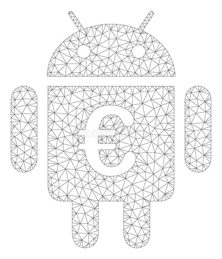 Vektor Mesh Illustration för euroAndroid Polygonal ram royaltyfri illustrationer