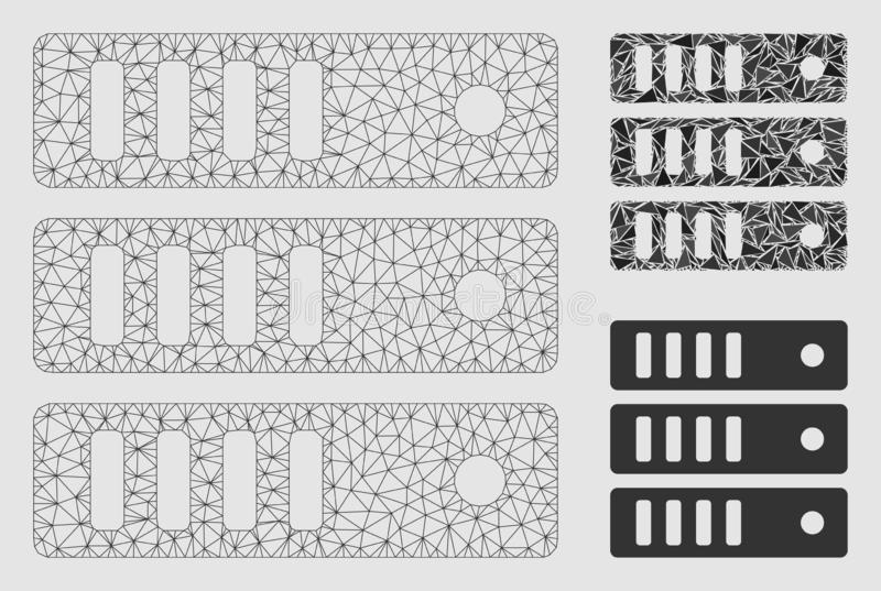 Vektor Mesh Network Model för databasserver och mosaisk symbol för triangel royaltyfri illustrationer