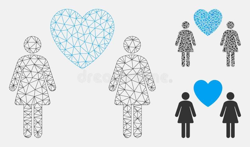 Vektor Mesh Network Model för Lesbi förälskelsepar och mosaisk symbol för triangel vektor illustrationer