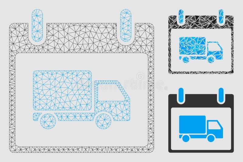 Vektor Mesh Wire Frame Model för dag för kalender för leveransbil och mosaisk symbol för triangel vektor illustrationer
