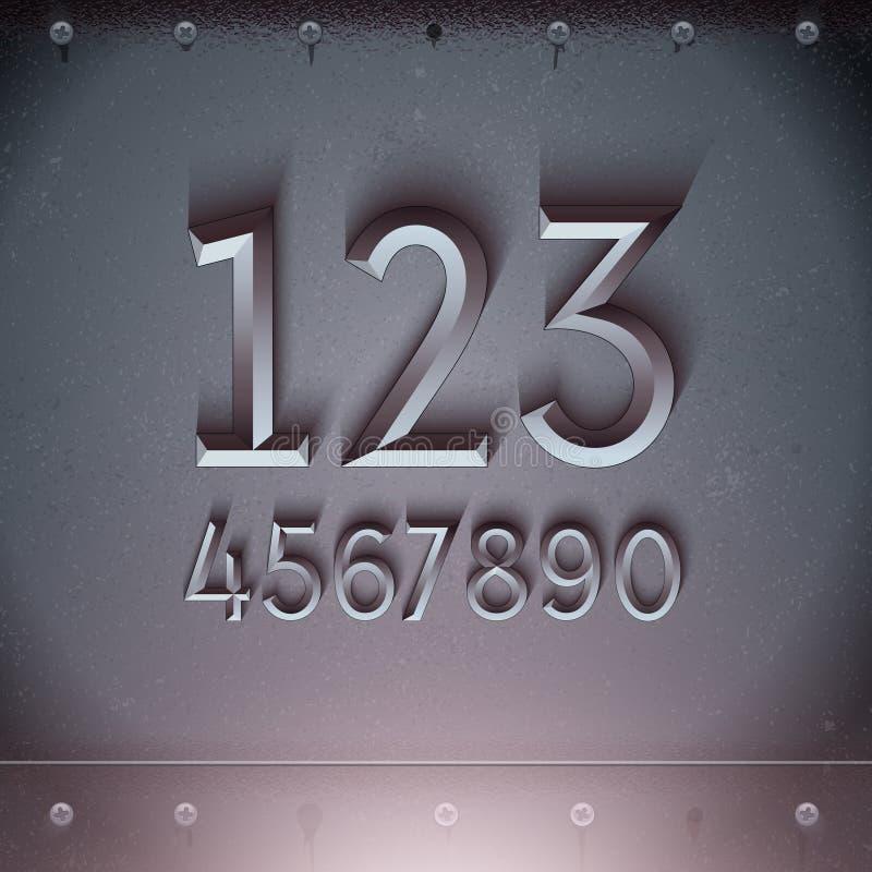 Vektor-Metall prägeartige Zahlen vektor abbildung