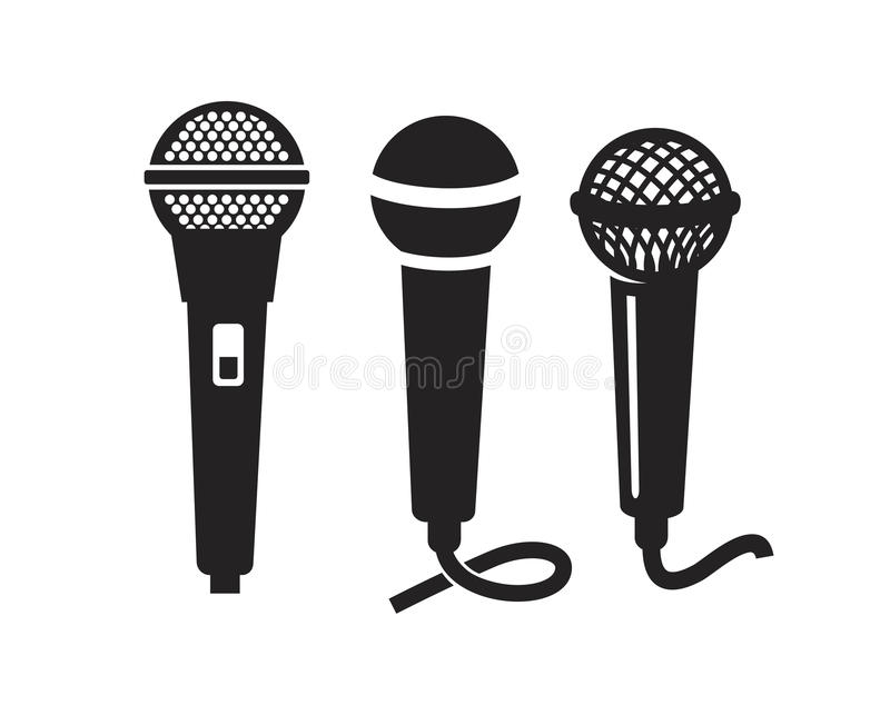 Vektor-Mikrofon-Ikone stock abbildung
