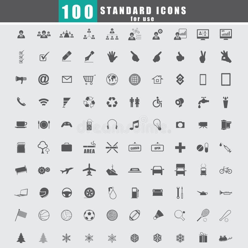 Vektor mit 100 Universalstandardikonen vektor abbildung