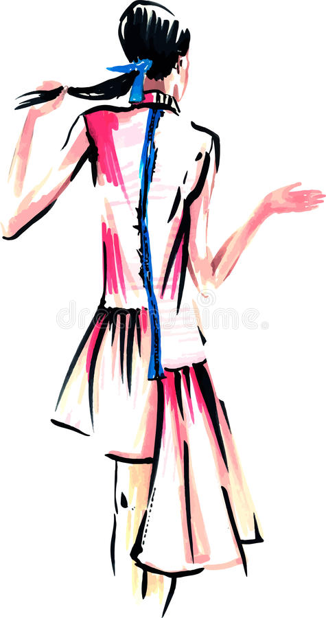 Vektor-Modemädchen in Skizze-ähnlichem Abbildung vektor abbildung