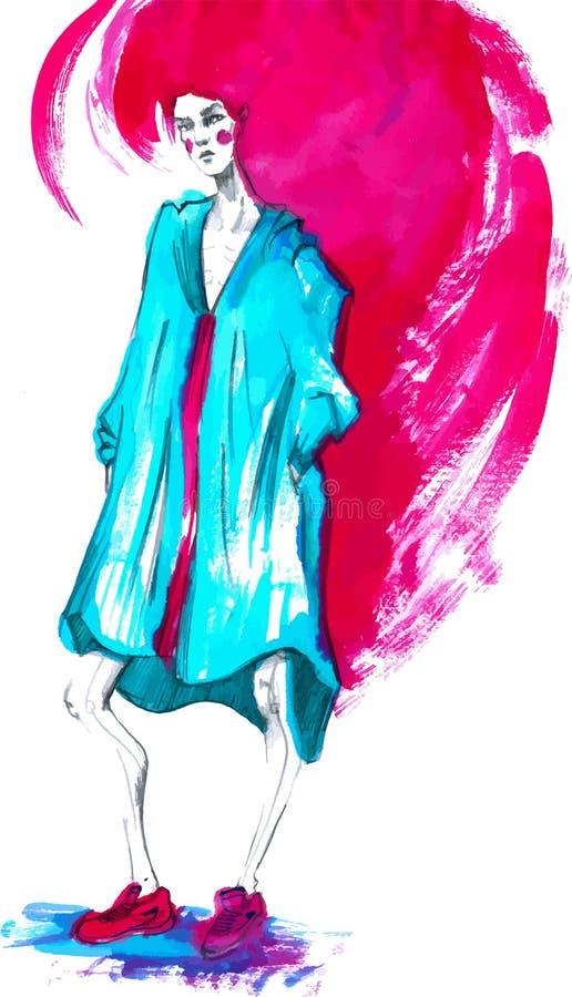 Vektor-Modemädchen in Skizze-ähnlichem Dekoratives Bild einer Flugwesenschwalbe ein Blatt Papier in seinem Schnabel stock abbildung