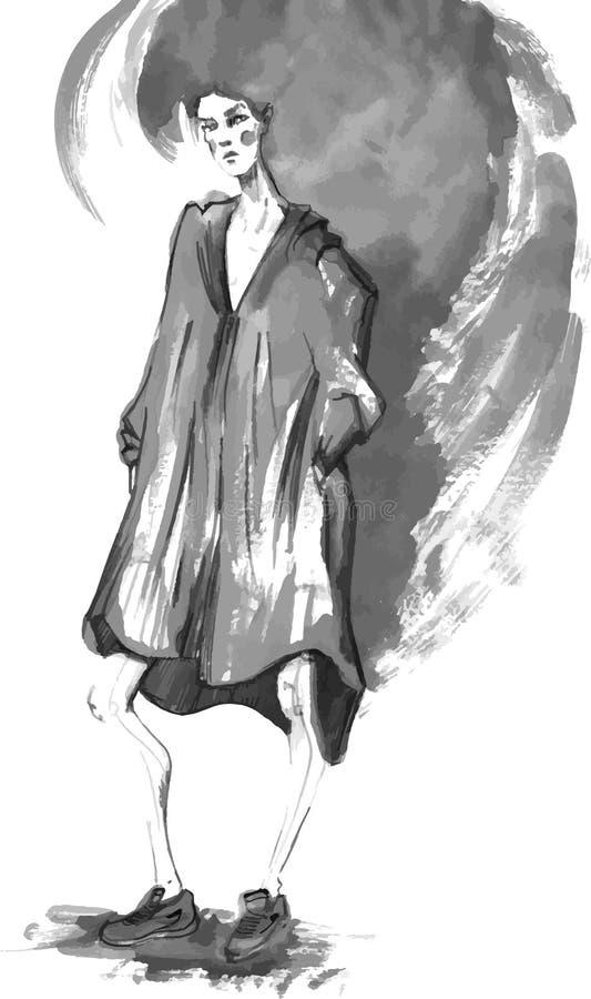 Vektor-Modemädchen in Skizze-ähnlichem Dekoratives Bild einer Flugwesenschwalbe ein Blatt Papier in seinem Schnabel vektor abbildung