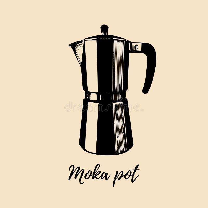 Vektor Moka-Topfillustration Hand skizzierte Hersteller für das alternative Kaffeebrauen Café, Restaurantmenü-Konzept des Entwurf vektor abbildung