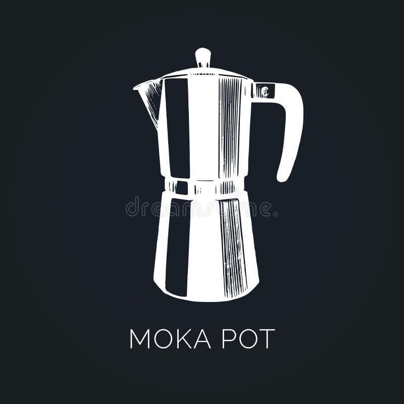 Vektor Moka-Topfillustration Hand skizzierte Hersteller für das alternative Kaffeebrauen Café, Restaurantmenü-Konzept des Entwurf stock abbildung