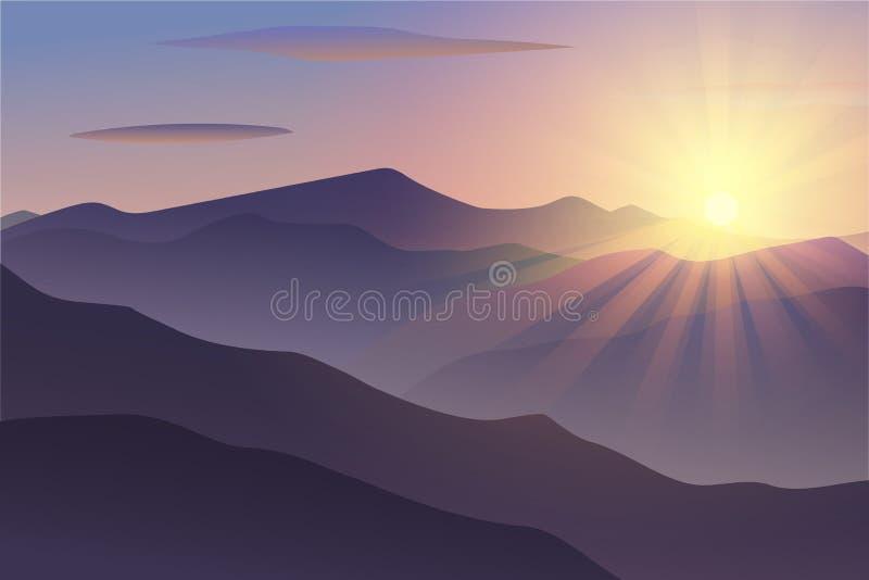 Download Vektor-Morgen An Den Bergen Vektor Abbildung - Illustration von auslegung, bunt: 106802717