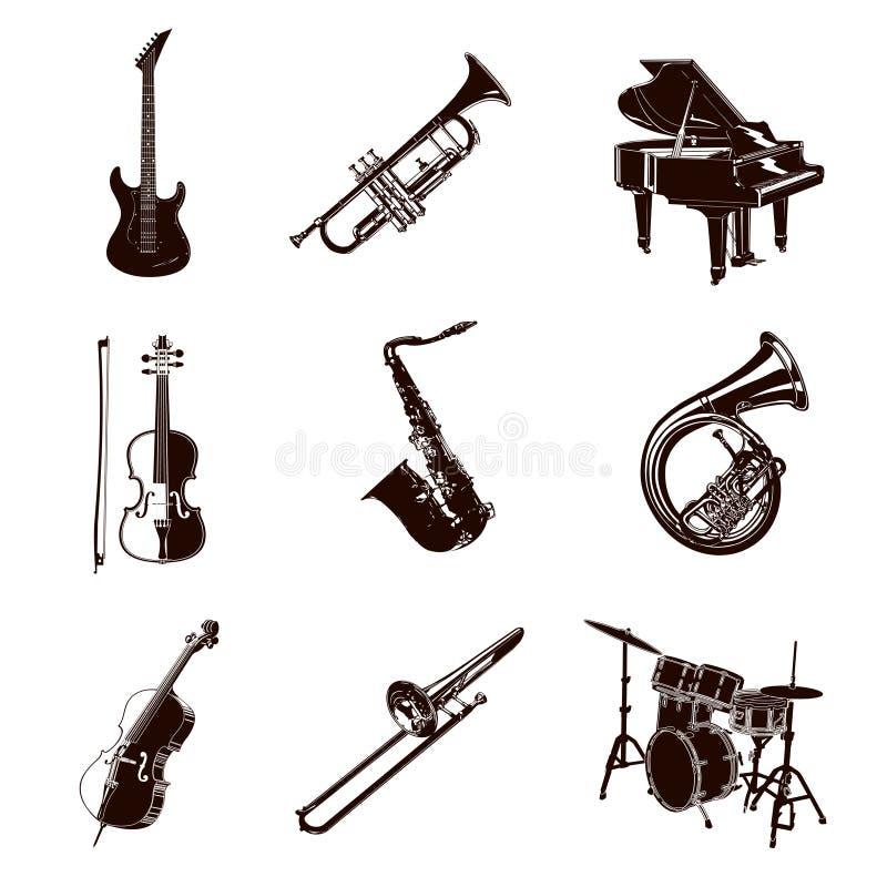 Vektor-Musik-Instrumente lizenzfreie abbildung
