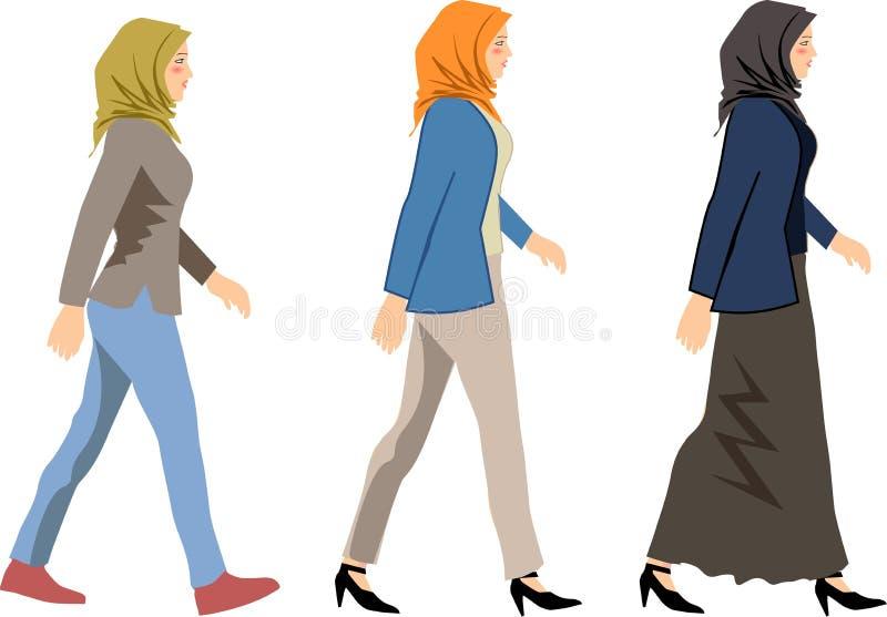 Vektor - muslimsk kvinna gå illustrationen för sidosikten - vektor royaltyfri fotografi