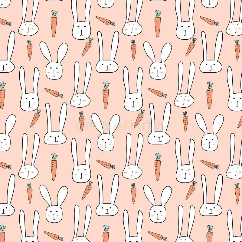Vektor-Muster mit netten Häschen und Karotten lizenzfreie abbildung