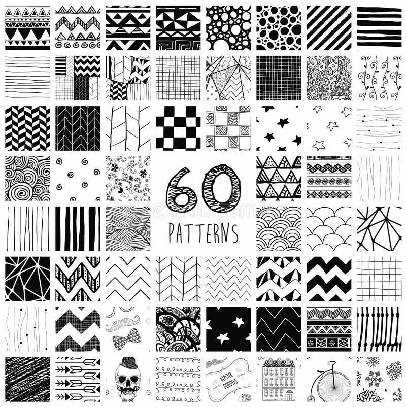 60 Vektor-Muster-Muster stock abbildung