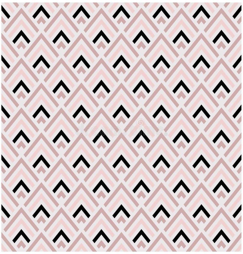 Vektor-Musterfliese der Formen des geometrischen Rosas und des schwarzen Diamanten nahtlose stock abbildung