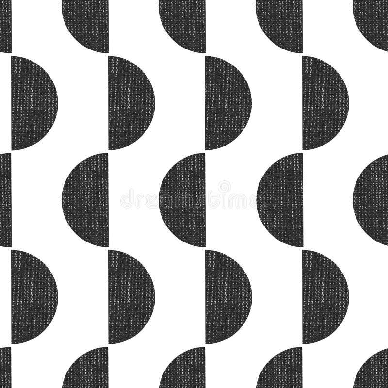Vektor-Musterhalbrunde der Schwarzweißbildschirmdruckart nahtlose geometrische vertikal mit Schmutzbeschaffenheit Abstrakte Kunst stock abbildung