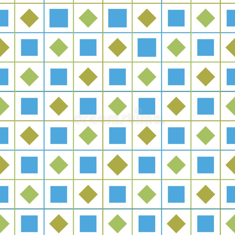 Vektor-Musterhintergrund der Zusammenfassung bunter nahtloser geometrischer Kontrollmit Diamanten und quadratische Formen für Gew lizenzfreie abbildung