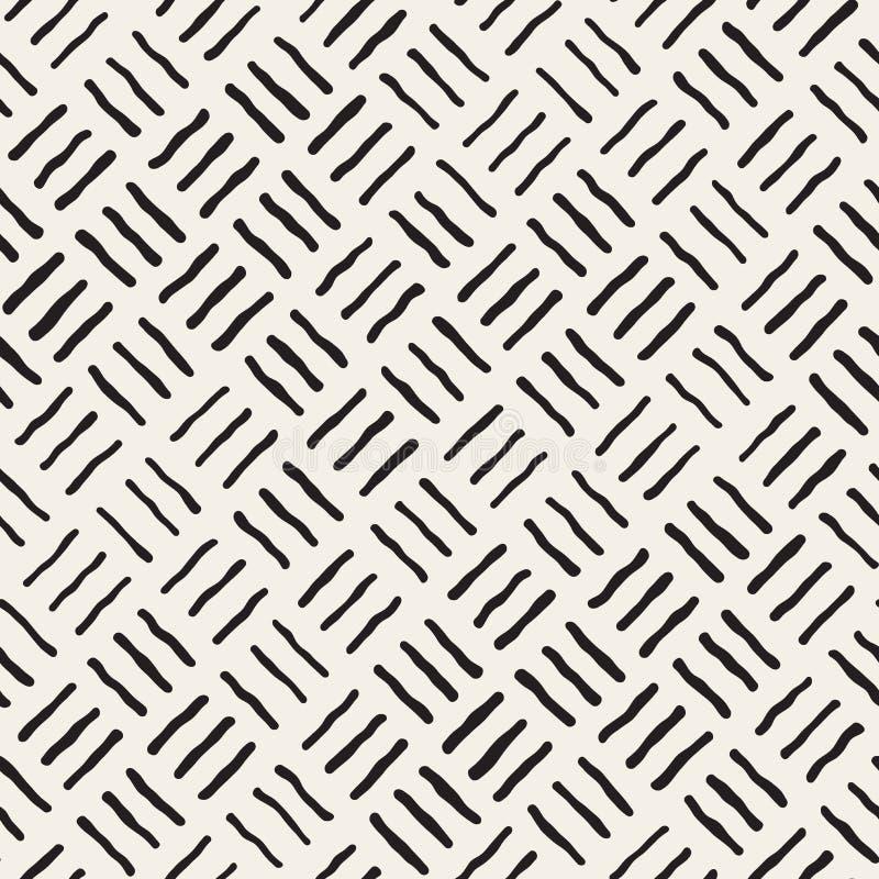 Vektor-nahtlose freihändige geometrische raue Linien Muster lizenzfreie abbildung
