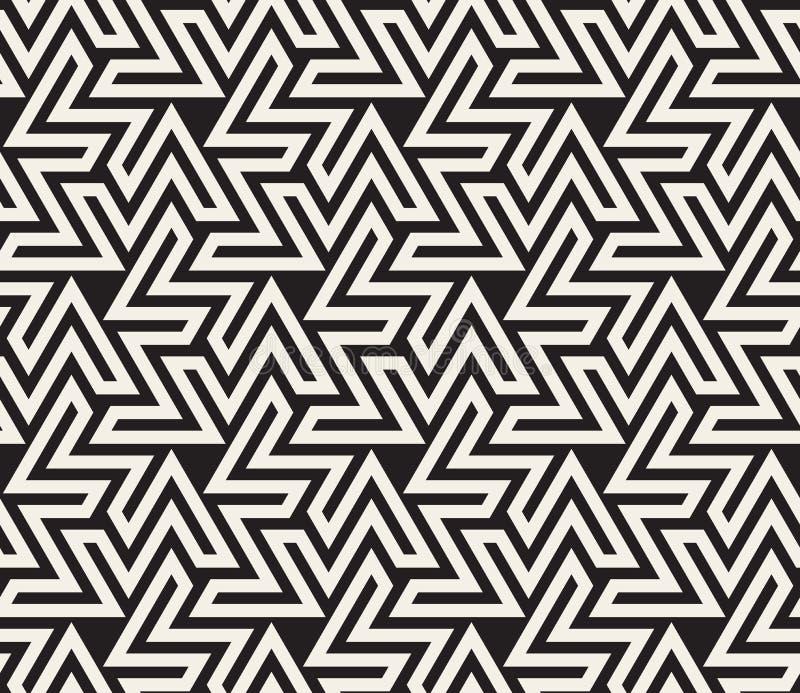 Vektor-nahtlose geometrische Schwarzweiss-Linie Dreieck-Zickzack-Form-islamisches Muster stock abbildung