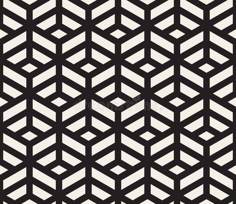 Vektor nahtlose geometrische Tilings-Muster-Schwarzweiss-Linie isometrisches Gitter vektor abbildung