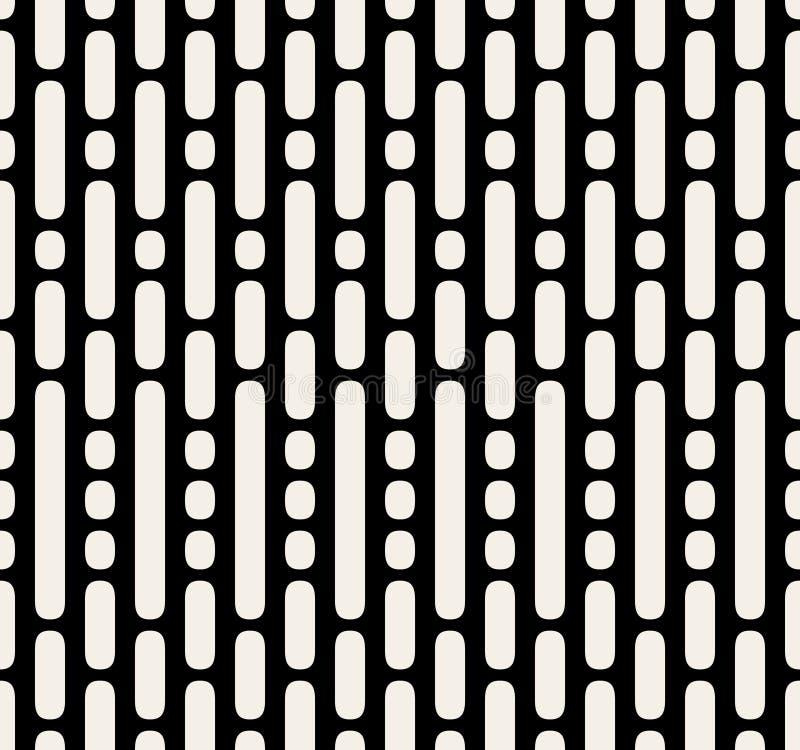 Vektor-nahtlose gestrichelte parallele vertikale Schwarzweiss-Linien und Dots Pattern lizenzfreie abbildung