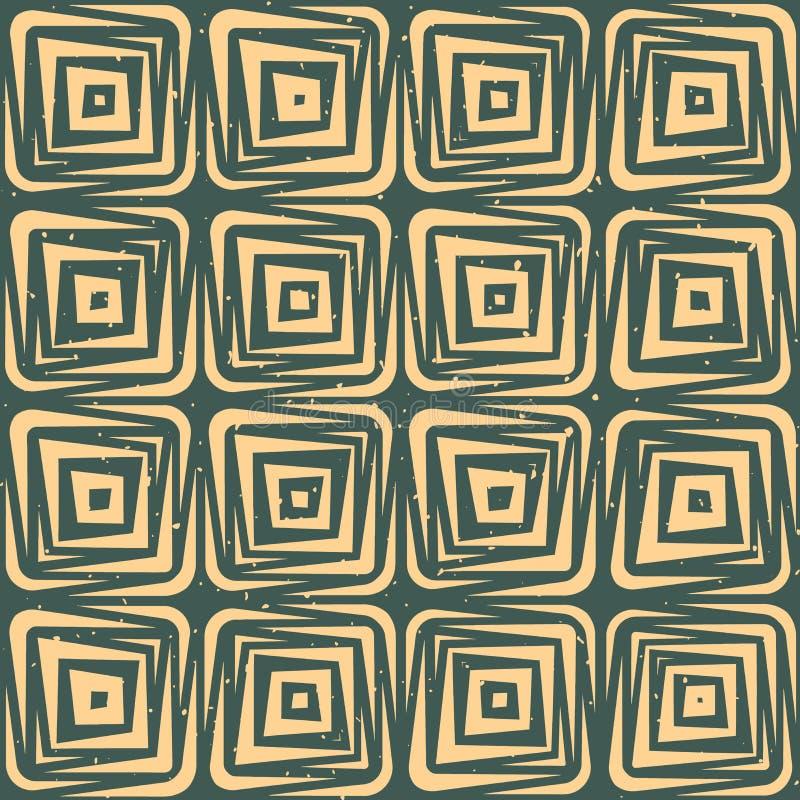 Vektor-nahtlose Hand gezeichnete geometrische Linien quadratische Fliesen Retro- Grungy grüne Tan Color Pattern lizenzfreie abbildung