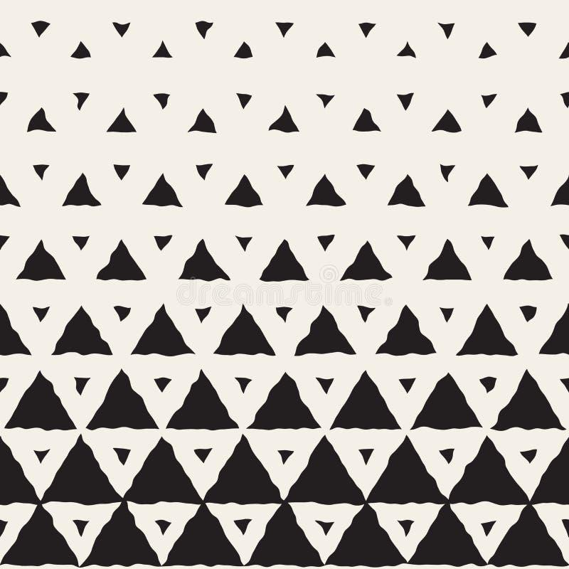 Vektor-nahtlose handgemalte Schwarzweiss-Linie geometrische Dreieck-Halbtonsteigungs-Muster vektor abbildung