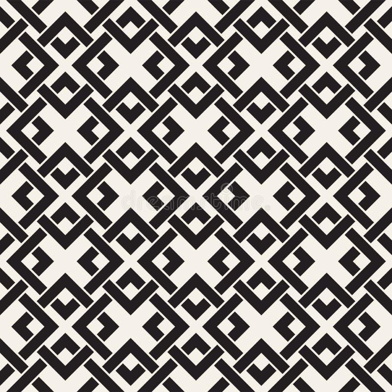 Vektor-nahtlose Linien Muster Abstrakter Hintergrund mit verwebenden Quadraten Geometrische einfarbige Gitterbeschaffenheit Dekor lizenzfreie abbildung