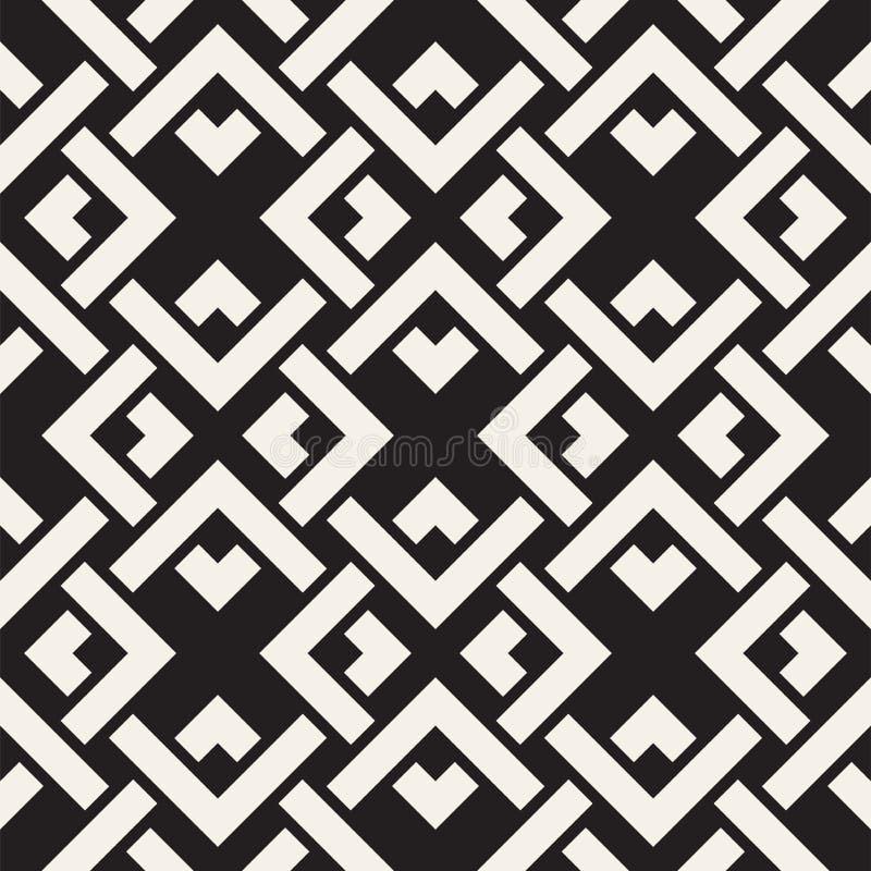 Vektor-nahtlose Linien Muster Abstrakter Hintergrund mit verwebenden Quadraten Geometrische einfarbige Gitterbeschaffenheit Dekor stock abbildung
