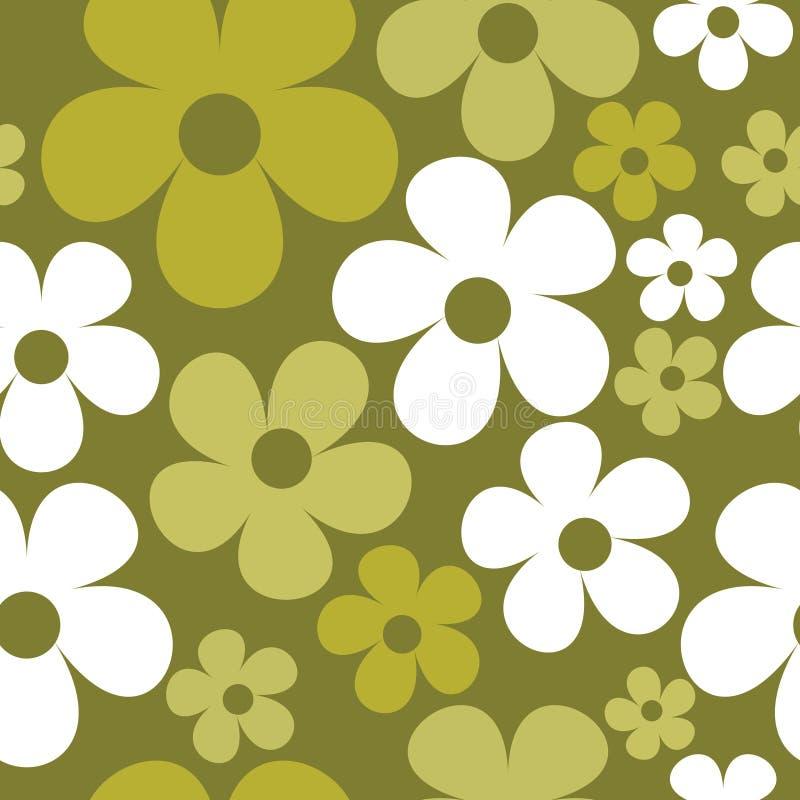 Vektor-nahtlose Muster-Grün-Hippie mit Blumen stock abbildung