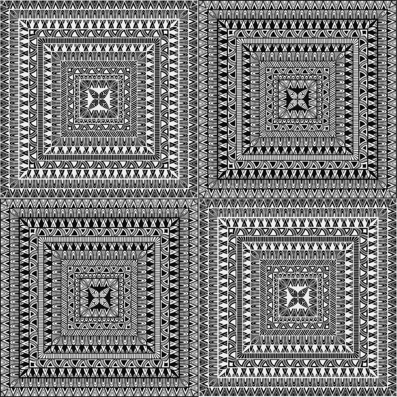 Vektor-nahtlose quadratische ethnische Muster vektor abbildung