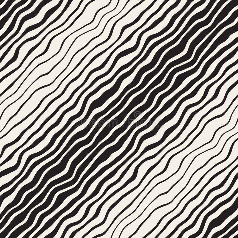 Vektor-nahtlose Schwarzweiss-Hand gezeichnete diagonale gewellte Linien Muster lizenzfreie abbildung
