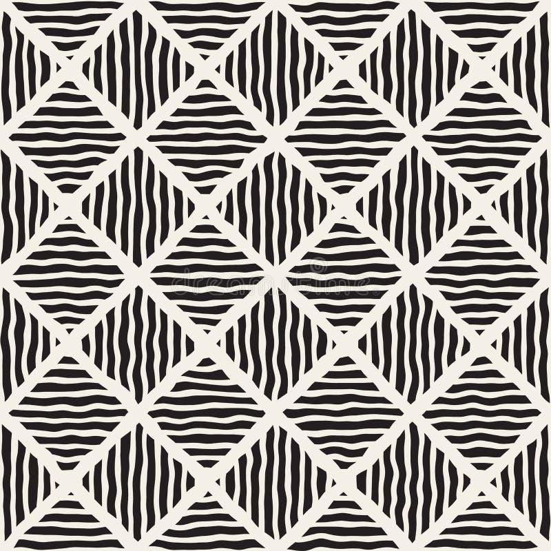 Vektor-nahtlose Schwarzweiss-Hand gezeichnete Diagonale zeichnet Rauten-Muster vektor abbildung