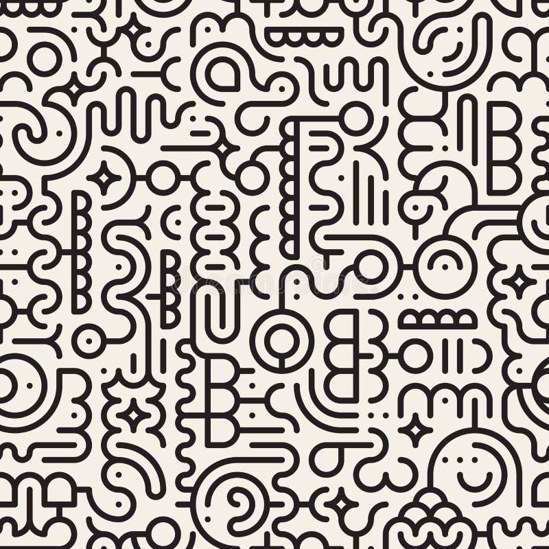 Vektor-nahtlose Schwarzweiss-Linie Art Geometric Doodle Pattern lizenzfreie abbildung