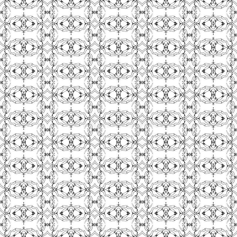Vektor-nahtlose Schwarzweiss-Linie Art Geometric Doodle Pattern Abstract-Hintergrund lizenzfreie abbildung