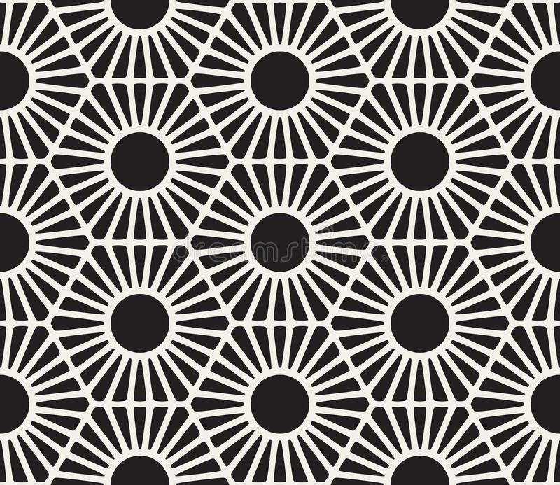 Vektor-nahtlose Schwarzweiss-Spitze-Blumenmuster lizenzfreie abbildung