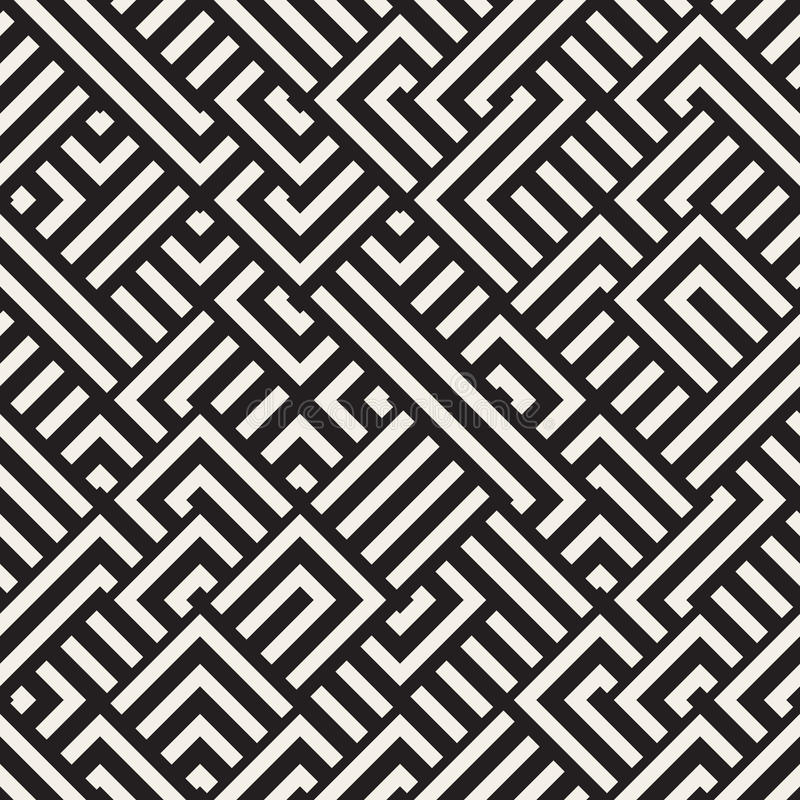 Vektor nahtloser diagonaler Schwarzweiss-Maze Lines Geometric Pattern vektor abbildung