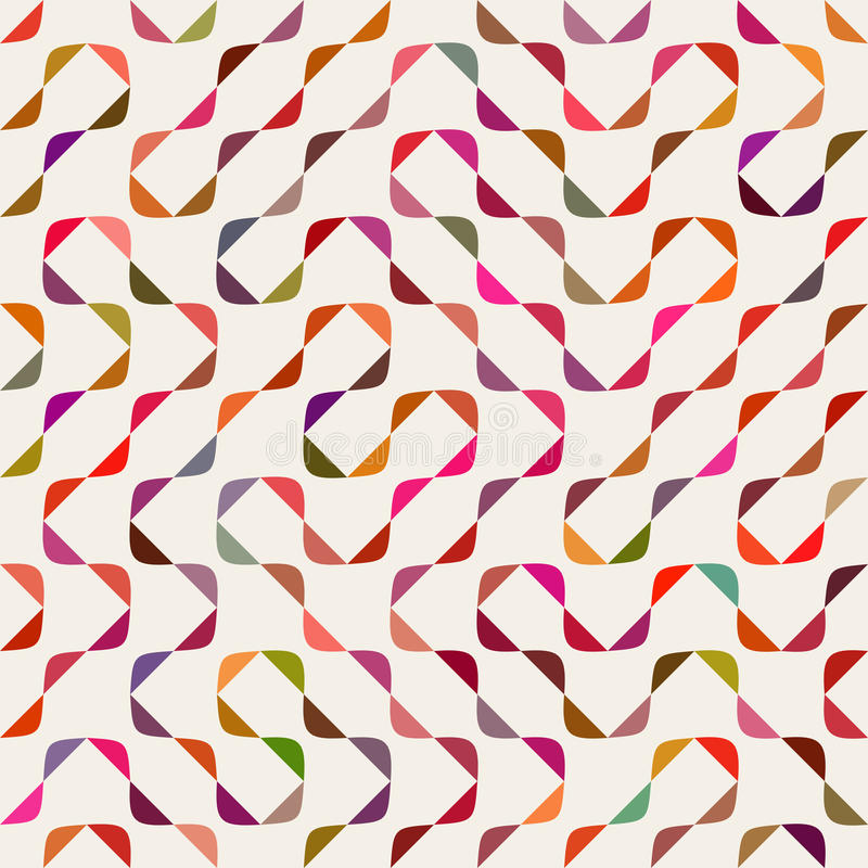 Vektor nahtloser Mehrfarben-Maze Arcs Geometric Pattern lizenzfreie abbildung