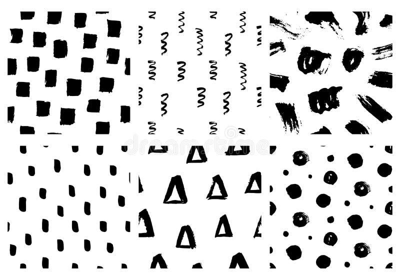 Vektor-nahtloser Muster-Satz Abstrakte Handgezogene Schmutz-Tintenbeschaffenheiten stock abbildung